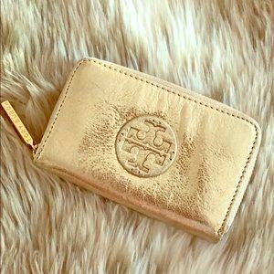 Tory Burch Gold Metallic Keychain/Card Holder